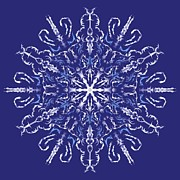 Doilies Prints - Marbleized Snowflake Kaleidoscope Print by MM Anderson