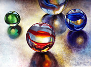 Larger Paintings - Marbles 2 by Carolyn Coffey Wallace