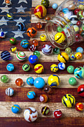 Play Playing Hobbies Collection Collecting Balls Prints - Marbles on American flag Print by Garry Gay