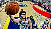 Dunk Framed Prints - Marc Gasol Framed Print by Florian Rodarte