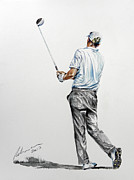 Famous Golfers Framed Prints - Marcel Siem Framed Print by Mark Robinson