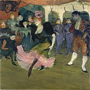 Spanish Dancing Painting Prints - Marcelle Lender Dancing the Bolero in Chilperic Print by Henri de Toulouse-Lautrec