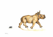 March Drawings Prints - March of the Rhinos Print by Helen Fleetwood