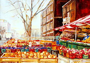 Quebec Cities Paintings - Marche Cote Des Neiges Market Scene Streets Of Montreal by Carole Spandau