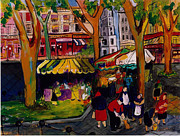 Impressionistic Market Painting Framed Prints - Marche des Paris Framed Print by Elaine Elliott