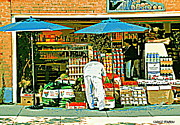 Corner Stores Paintings - Marche Fruits Et Legumes Fruiterie And Convenience Store Vintage Montreal City Scene by Carole Spandau