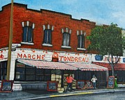 City Of Montreal Painting Framed Prints - Marche Tondreau Verdun Framed Print by Reb Frost