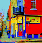 Point St. Charles Paintings - Marche Unique Cafe Sandwich Depanneur Rue St. Jacques St. Henri  Street Scenes Carole Spandau by Carole Spandau