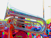 Tubist Framed Prints - Marching Tuba Framed Print by C H Apperson