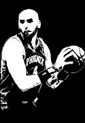 Basket Ball Digital Art Prints - Marcin Gortat Print by Paula Sharlea