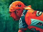 Professional Paintings - Marco Pantani 2 by Paul  Meijering