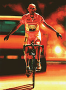 Basket Ball Painting Framed Prints - Marco Pantani Framed Print by Paul  Meijering