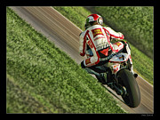 Motogp Posters - Marco Simoncelli Green Grass Ride Poster by Blake Richards