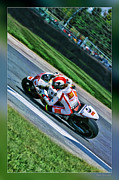 Apparel Framed Prints - Marco Simoncelli Uphill Framed Print by Blake Richards