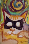 Modesto Paintings - Mardi Gras Cat by James  Christiansen