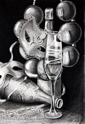 Champagne Drawings Metal Prints - Mardi Gras Champagne Metal Print by Steve Ellenburg