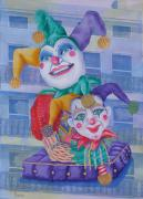 Mardi Gras Paintings - Mardi Gras Jesters by Rhonda Leonard