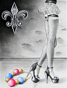 Mardi Gras Drawings Framed Prints - Mardi Gras Legs Framed Print by Steve Ellenburg