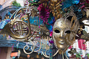 Colorful Beads Posters - Mardi Gras Mask Poster by Heidi Smith