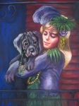Animal Portrait Pastels - Mardi Gras Puppy by Beverly Boulet