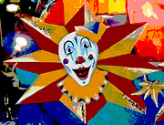 Circus Graphics Prints - Mardi Gras Star Clown Posterized Print by Marian Bell
