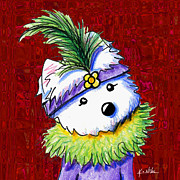 Westie Terrier Digital Art - Mardi Gras Westie Sur Rouge by Kim Niles