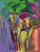 Mardi Gras Paintings - MardiGras Horse by Swabby Soileau