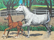Gray Pastels - Mare and Colt by Jeanne Fischer