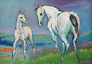White Horse Prints - Mare and Foal Print by Carol Jo Smidt