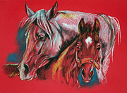 Mother Pastels Metal Prints - Mare With A Foal Metal Print by Angel  Tarantella