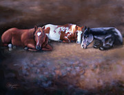 Mares Posters - Mares At Rest Poster by Barbara Hymer