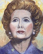 Margaret Paintings - Margaret Thatcher Two by Linda Mears