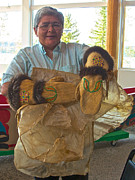 Gloves Digital Art - Margaret Wearing Beaver-cuffed Gloves She Made in Tlingit Heritage Center in Teslin-YK by Ruth Hager
