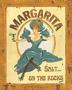 Glass Art Painting Posters - Margarita salt on the rocks Poster by Debbie DeWitt
