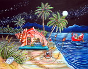 Conch Paintings - Margaritaville Conch Christmas by Abigail White