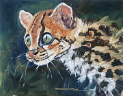 Kitten Prints Posters - Margay Kitten Poster by Linda Rous