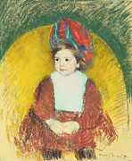 Red Dress Pastels - Margot by Mary Stevenson Cassatt