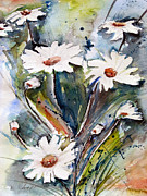 Wildflowers Mixed Media Posters - Marguerites Poster by Ismeta Gruenwald