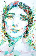Soprano Painting Framed Prints - MARIA CALLAS watercolor portrait Framed Print by Fabrizio Cassetta