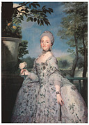 Gown Paintings - Maria Luisa of Parma by Anton Raffael Mengs