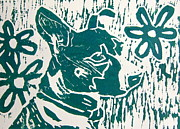 Linocut Framed Prints - Maria Framed Print by Marita McVeigh