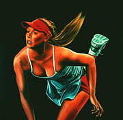 Us Open Painting Framed Prints - Maria Sharapova  Framed Print by Paul  Meijering