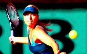 Backhand Prints - Maria Sharapova tennis Print by Lanjee Chee