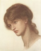 Romanticism Drawings Posters - Maria Spartali Mrs. Stillman or  A Study for Dantes Dream at the Time of the Death of Beatrix Poster by Philip Ralley