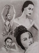 Ballet Dancers Drawings Framed Prints - Maria Tallchief Framed Print by Amber Stanford