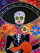 Skull Posters - Mariachi Serenata Day Of The Dead Poster by Pristine Cartera Turkus