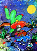 Guitar Painting Originals - Mariachi Siesta by Pristine Cartera Turkus