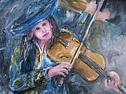 Bands Drawings Prints - Mariachi Violin Girl Painting Print by Eric  Schiabor