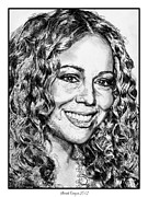 Closeups Drawings - Mariah Carey in 2012 by J McCombie
