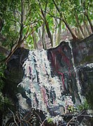 Vines Paintings - Mariahs Falls by Ellen Levinson